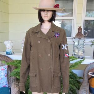 Military Style Brown Peacoat With Patches